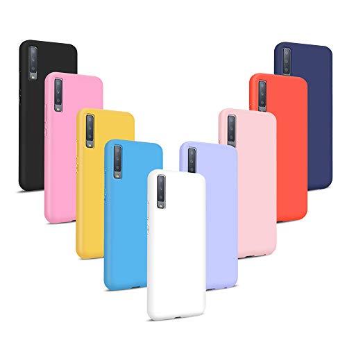 9X Fundas para Samsung Galaxy A7 2018, Carcasas Flexible Suave TPU Silicona Ultra Delgado Protección Caso(Rojo + Rosa Claro + Púrpura + Amarillo + Rosa Oscuro + Verde + Negro + Azul Oscuro)