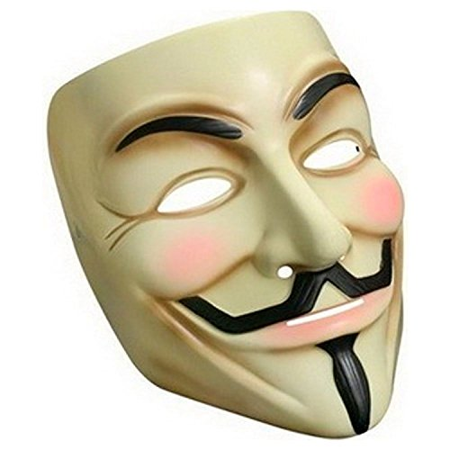 Oramics® Vendetta Maske Mask Guy Fawkes Anonymous Replika Demo Anti -Karneval Maske Anti Acta Demo (Gelb mit Maskara)