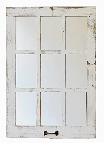 Window Style 9 Paned Mirror 23.5 x 33.25 Reclaimed Barn Wood Rustic Farmhouse Decor Homesteader Over Mantle Country Decorative Living Room Wall Hanging Large Distressed Display