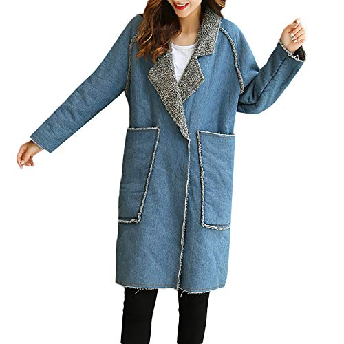 FRAUIT dames lange winterjas jeans parka fleece gevoerd warm jack lange denim mantel knoop revers trenchcoat met tas warm zacht comfortabele kleding blouse top outwear