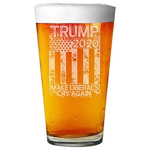 Shop4Ever Trump 2020 Make Liberals Cry Again - Vaso de pinta de cerveza con grabado láser