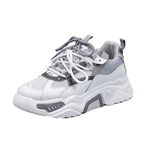 DogensHonz Zapatillas de Deporte de la Plataforma Transpirable para Mujer Zapatos de Zapatillas de Zapatillas de Malla Casual para Mujeres Gray 36