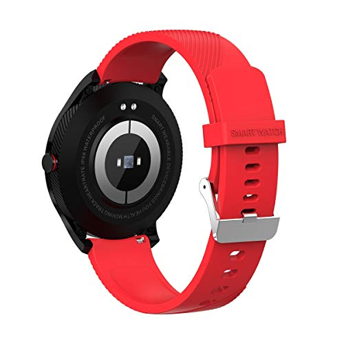 Smart Watch IPS Kleurrijke Scherm Hartslag Bloeddruk Zuurstof Monitoring Fitness Multi-Sport Modes merk: TONWIN, Red Silicone