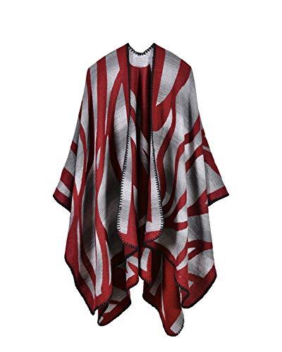 Damen Verdickter Nepal Stil Decke Schal wickeln Poncho Cape gemütliche Faux Cashmere oversized Tartan Schals ,Verdickter Warm bleiben Cape Schal E Stil