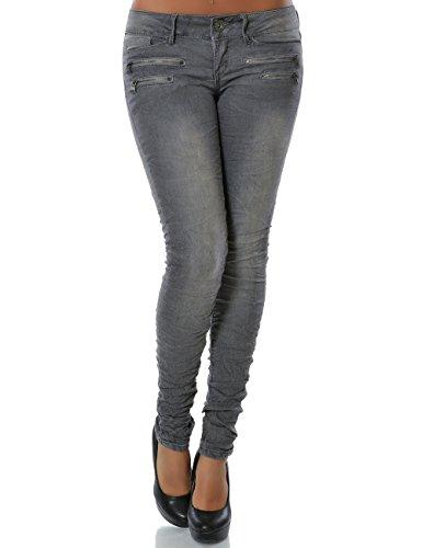 Damen Jeans Hose Skinny Röhre Stretch DA 14089 Farbe Grau Größe S / 36