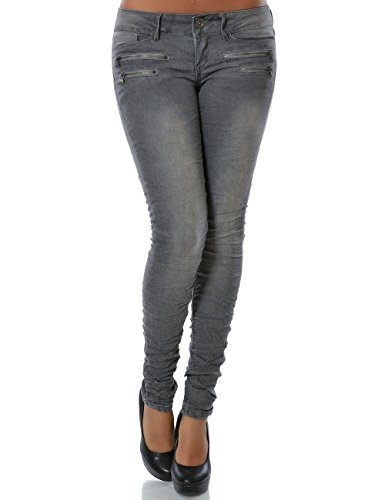 Daleus Damen Jeans Hose Skinny (Röhre weitere Farben) No 14089, Grau, 40