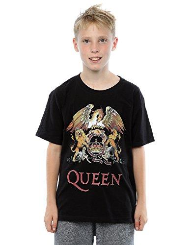 Queen niños Crest Logo Camiseta 9-11 Years Negro