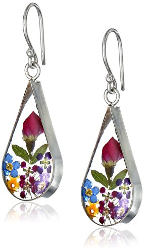Sterling Silver Multi Pressed Flower Teardrop Earrings