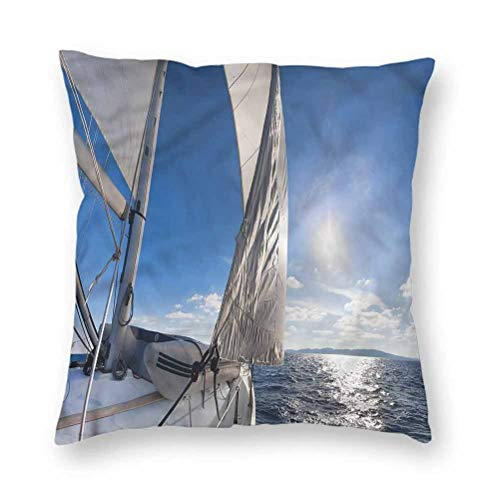 YUAZHOQI Pillow Covers 20' x 20', Sailboat,Sailing Boat in Sea, Square Decorative Pillowcases for Bench Couch Livingroom(1 Pack)