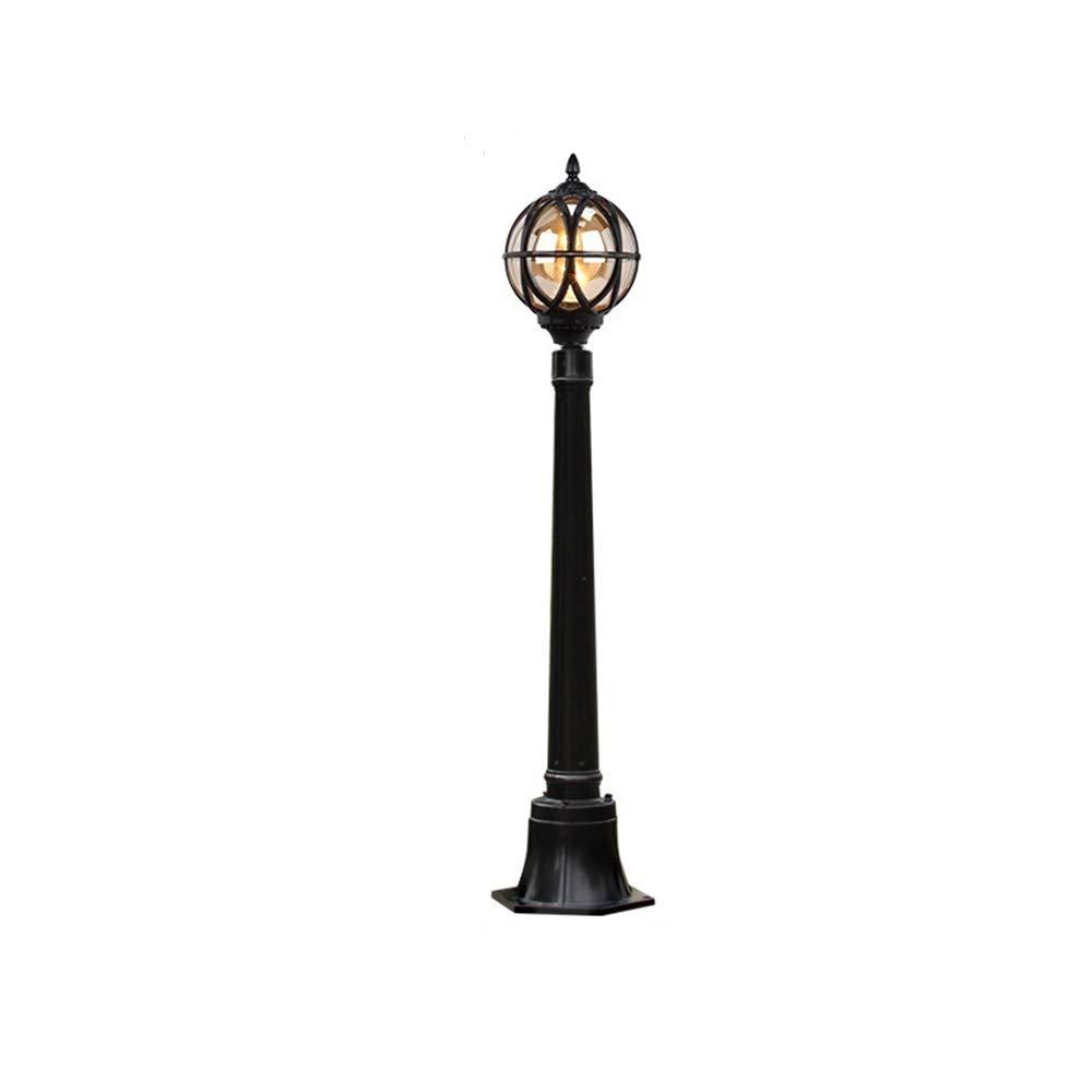 Altura 110CM Negro Exterior Farola Impermeable IP54 Lámpara de camino Pantalla de cristal redonda vintage Lámpara de jardín Césped Puerta Terrazas Lámpara Bolardo Iluminación: Amazon.es: Iluminación