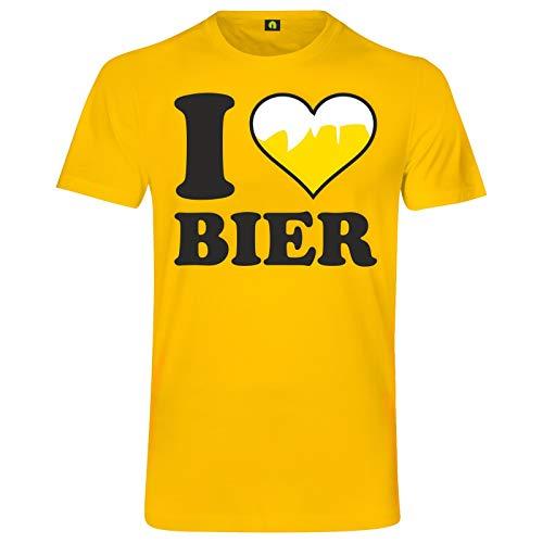 I Love Bier T-Shirt | Ich Liebe | Beer | Alkohol | Saufen | Party | Weizen Gelb M