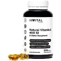Vitamina E Natural 400 UI | 200 perlas, (Más de 6 meses de suministro) | Potente antioxidante que protege las células del estrés oxidativo, mejora el sistema inmune y favorece la salud cardiovascular.