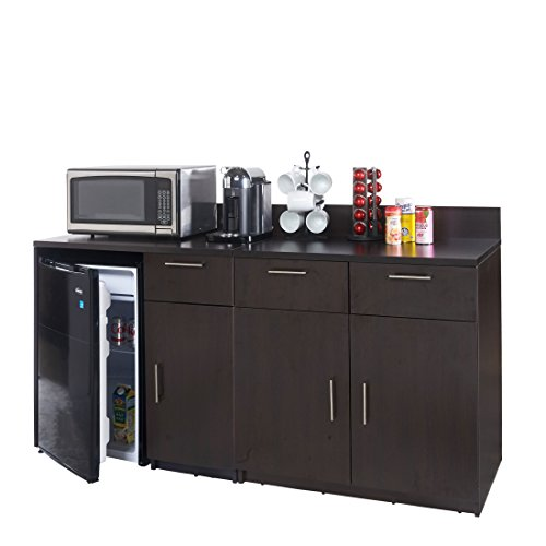 Breaktime 2 Piece Coffee Kitchen Lunch Break Room Furniture Cabinets Fully Assembled Ready to Use, Instantly Create your New Break Room, Espresso