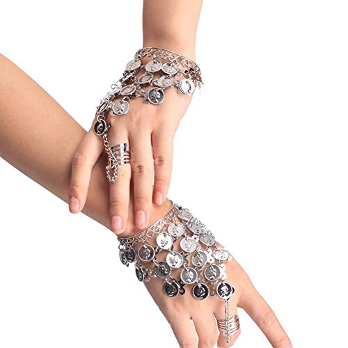 HugeStore Women Ladies Belly Dance Gypsy Jewelry Triangle Coin Bracelet Wrist Bangle Ring Silver