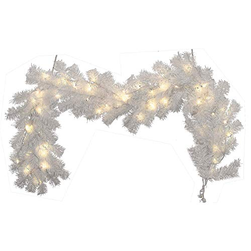 Moskado 9ft 2.7m Christmas Decorated Garland White with Lights Garland Wreath Fireplace Staircase Christmas Tree Decoration