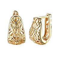Dainty 14K Gold Filigree Wide Stud Small Hoop Earrings for Women Girls Oval Hollowed-out Fashion Tex...