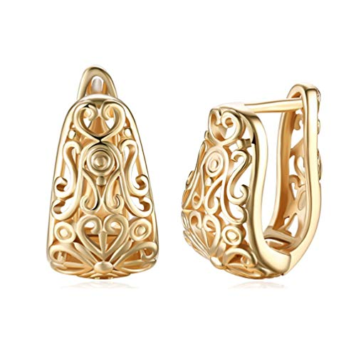 Dainty 14K Gold Filigree Wide Stud Small Hoop Earrings for Women Girls Oval Hollowed-out Fashion Texture Love Heart Huggie Hoops Hypoallergenic for Sensitive Ear Gifts
