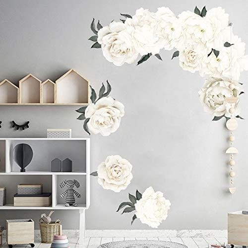Pegatinas de pared de peonía blanca para sala de estar, dormitorio, vinilo autoadhesivo, calcomanías de pared, murales de arte extraíbles ecológicos