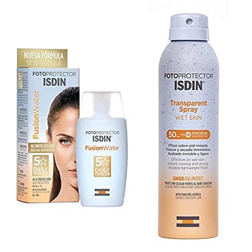 ISDIN Fusion Water Fotoprotector Facial SPF 50, de Fase Acuosa para Uso Diario, Textura Ultra Ligera + Fotoprotector ISDIN Transparent Wet Skin SPF 50, Spray transparente, Ginger Cell Protect 250 ml