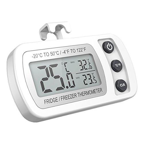 【Upgrade Version】ORIA Kühlschrank Thermometer mit Max/Min Funktion, Digitale Wasserdichte Gefrierschrank Thermometer mit Haken Gut Lesbarem LCD-Anzeige, Perfekt für Hause, Bars, Cafés, etc