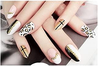 TBOP FAKE NAIL art reusable French long Artifical False nails 24 pcs set Leopard Print in Black Gold color