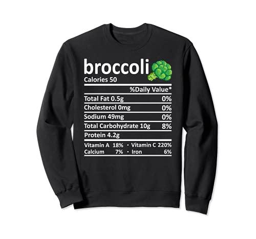 Brcoli Nutricin Informacin Alimentaria Disfraz de Accin de Gracias Navidad Sudadera