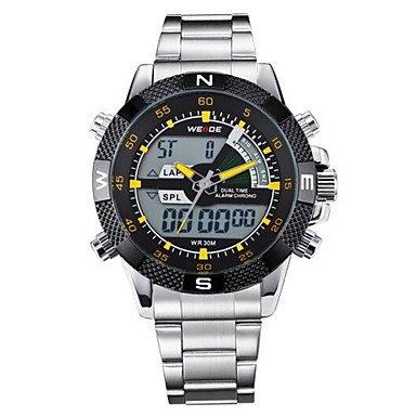 Fashion Watches Schöne Uhren, Weide® Quarz Männer voller Stahl Sport Luxusuhrenmarke analoge LCD-Digitalanzeige (Farbe : Gelb, Großauswahl : Einheitsgröße)