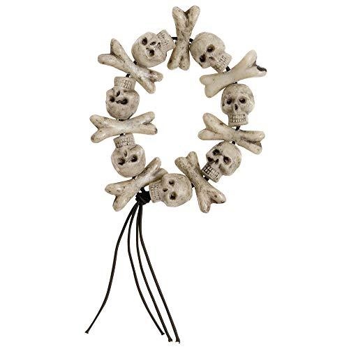 Widmann 8596T - Armband mit Totenköpfen und gekreutzten Knochen, Accessoire, Skelett, Halloween, Karneval
