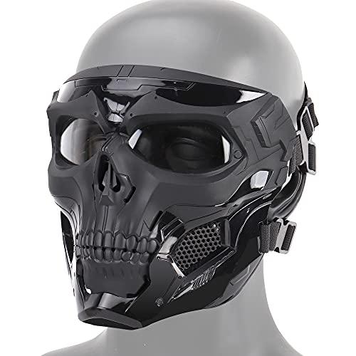Máscara de airsoft, máscara completa de esqueleto negro y gris para Halloween,...