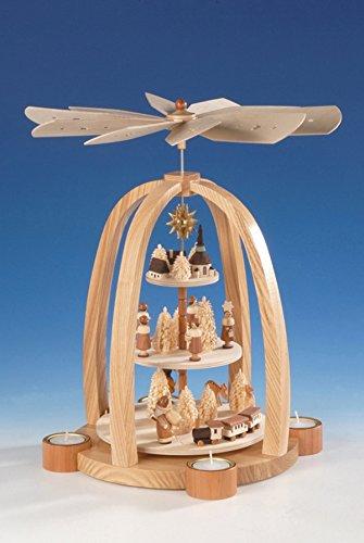 Teelichtpyramide 3-stöckig mit Kurrende – Weihnachtspyramide – Tischpyramide – Holz – Pyramide für Teelichte – Höhe 41 cm - Natur - Erzgebirge - NEU