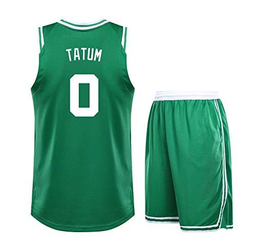 DERTL per No.0 Jayson Tatum Boston Celtics Fan Ragazzi Ragazze Maglie da Basket Scuola Sport Uniforme Set da Basket Senza Maniche Adolescenti Bambini-green-28