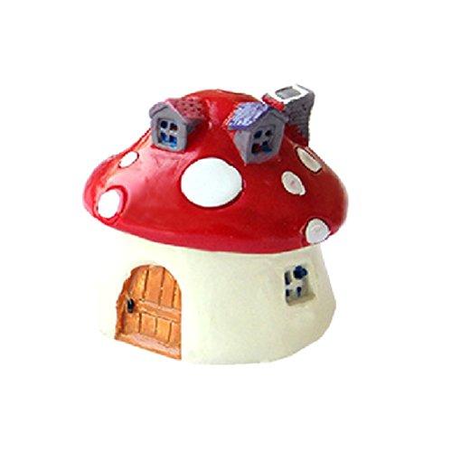 OUNONA Miniatura casa fungo di resina per decorazione in Rosso