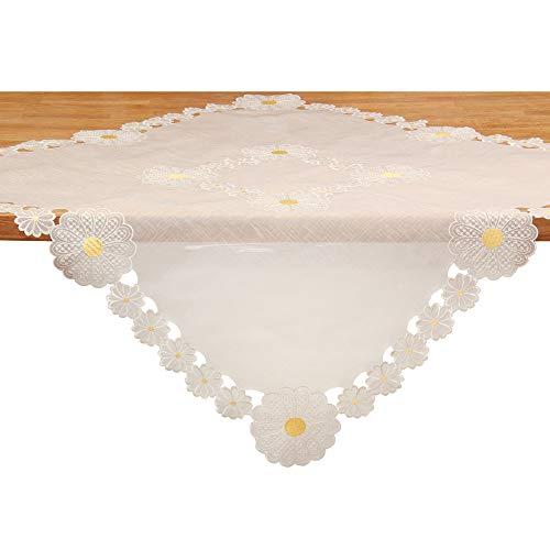 Quinnyshop Mitteldecke Tischdecke Blumen Stickerei Halbdurchsichtg Organza ca. 85 x 85 cm Weiß