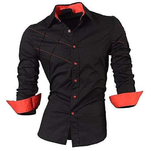 N\P Shirts Men's Casual Jeans Shirts Long-Sleeved Casual Slim Men's Shirts Black