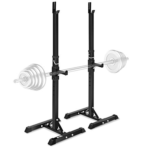 "Goplus Pair of Adjustable Standard Squat Stands 42""- 67"" Rack Solid Steel Portable Barbell Dumbbell Power Rack Free Bench Press Stands Home Gym"