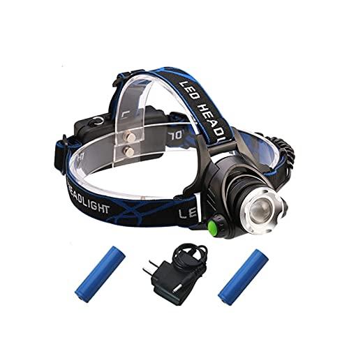 Linterna Frontal Sensor IR LED Faro XM-L2 Faro Micro USB Lámpara de cabeza recargable de la cabeza impermeable Torch Linterna 18650 Luz de la pesca LED (Body Color : White light T6)