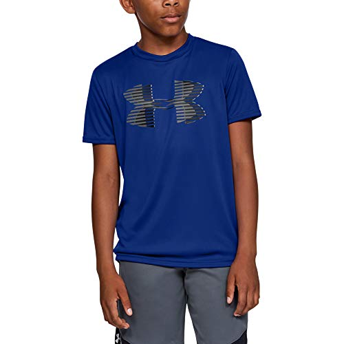 Under Armour Boys' Tech Big Logo Solid T-Shirt, Royal (400)/Graphite, Youth Large
