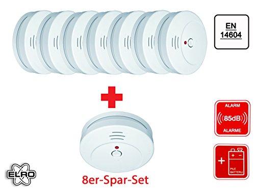 8er Set Elro RM144C optischer Rauchmelder, 85dB, Funktionstest, RM144C-8