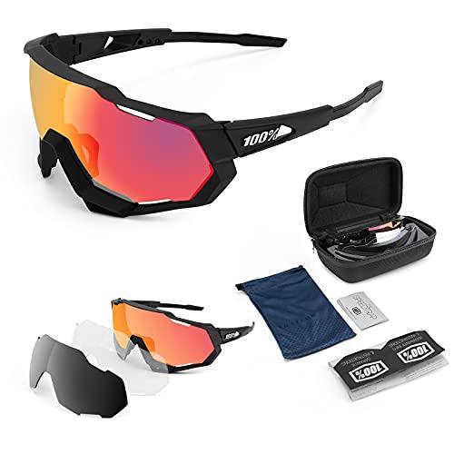 TECHVIDA Gafas de Montar polarizadas, Gafas de Sol Deportivas polarizadas gafasProtección UV400 Gafas de Ciclismo con 3 Lentes Intercambiables para Ciclismo, béisbol, Pesca, esquí
