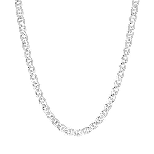 5mm .925 Sterling Silver Flat Mariner Link Anchor Chain Necklace (20