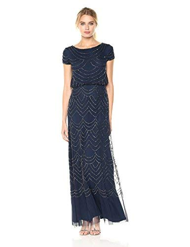 Adrianna Papell Women's Short Sleeve Blouson Beaded Gown, Navy, 12