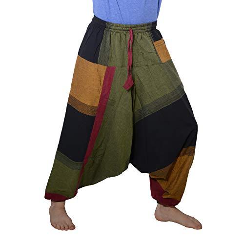 KUNST UND MAGIE Bunte Aladin Haremshose, Farbe:Schwarz/Grün