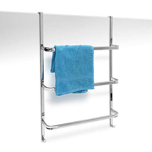 Relaxdays Handtuchhalter mit 3 Handtuchstangen HxBxT: 85 x 54 x 11,5 cm Badetuchhalter für alle gebräuchlichen Türen ohne Bohren in Edelstahl-Optik mit 2 Handtuchhaken für Badezimmer und Küche, silber