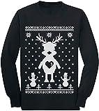 Quafoo Brutto Stile Renna Maglione natalizio - T-Shirt per Bambini a Maniche Lunghe Carina, nera, Grande