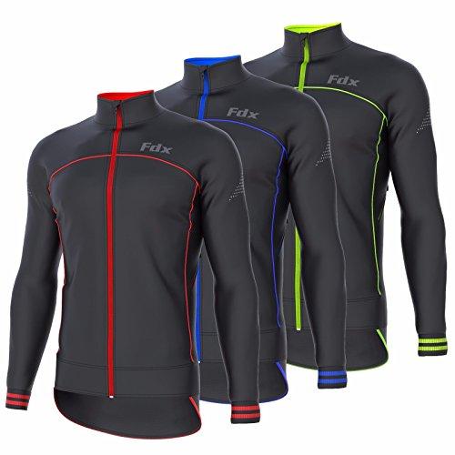 FDX Chaqueta de ciclismo para hombre cortavientos térmica Softshell transpirable Running Jacket