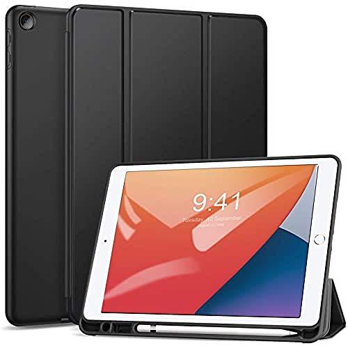 ZtotopHülle Hülle für iPad 8 Generation/7 Generation, Superdünne Soft TPU Rückseite Abdeckung Schutzhülle mit eingebautem iPad Stifthalter, Auto Schlaf/Aufwach, für iPad 10.2 Zoll 2020/2019, Schwarz