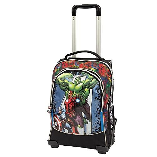 TROLLEY ZAINO SCUOLA Avengers nuova collezione Marvel + Omaggio 7 Penne Scatto cancellabili con portachiave gioco cubo e penna multicolore profumata