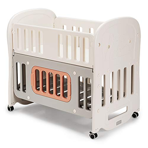 COSTWAY 6 in 1 Baby Cot Bed with Mattress, Detachable & Lockable Wheels, Storage Space, Converts to Bedside Bassinet, Playard, Daybed, Rocking Crib