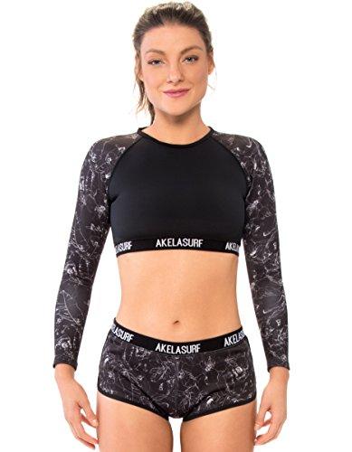 Akela Surf Rucksack Damen Jolt Crop Top Long Sleeve Rashguard XL Patterned Black