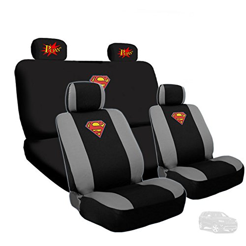 Yupbizauto Ultimate Superman Car Seat Covers with Classic POW! Logo Headrest Covers Gift Set